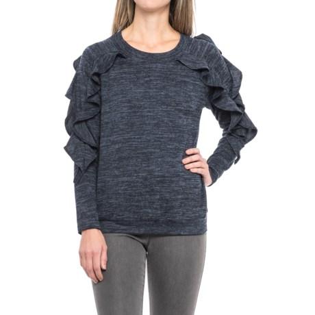 August Silk Ruffled Shirt - Long Sleeve (For Women) in Navy/Black Heather