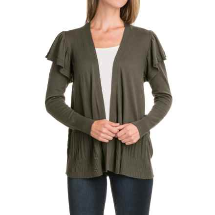 August Silk Ruffled Sleeve Cardigan Sweater - Open Front (For Women) in Military Olive - Closeouts