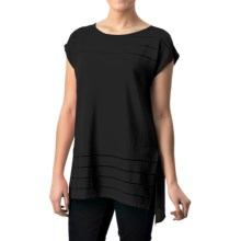 August Silk Sheer-Striped Shirt - Short Sleeve (For Women) in Black - Closeouts
