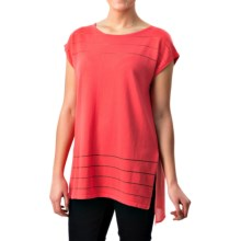 August Silk Sheer-Striped Shirt - Short Sleeve (For Women) in Charisma Coral - Closeouts
