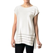 August Silk Sheer-Striped Shirt - Short Sleeve (For Women) in White - Closeouts
