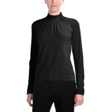 August Silk Shirred Mock Turtleneck - Long Sleeve (For Women) in Black - Closeouts