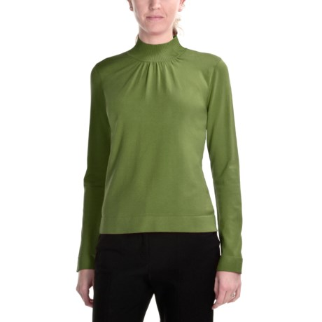 August Silk Shirred Mock Turtleneck - Long Sleeve (For Women) in Fall Meadow