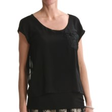 August Silk Softly Layered Shirt - Short Sleeve (For Women) in Black - Closeouts