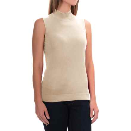 August Silk Standard Turtleneck - Sleeveless (For Women) in Ash Blonde - Overstock