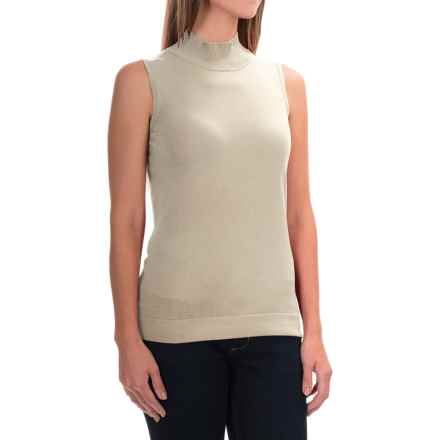August Silk Standard Turtleneck - Sleeveless (For Women) in Bavarian Cream - Overstock