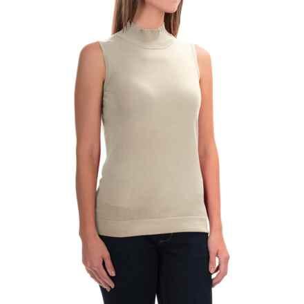 August Silk Standard Turtleneck - Sleeveless (For Women) in Bavarian Cream - Overstock