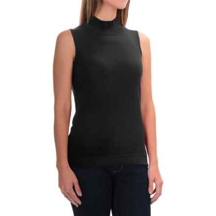 August Silk Standard Turtleneck - Sleeveless (For Women) in Black - Overstock