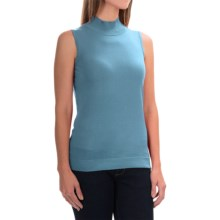 August Silk Standard Turtleneck - Sleeveless (For Women) in Oasis Blue - Overstock