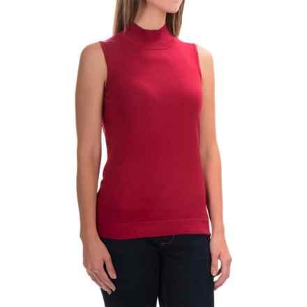 August Silk Standard Turtleneck - Sleeveless (For Women) in Red Noveau - Overstock