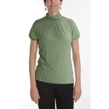 August Silk Stretch Scrunch Mock Turtleneck - Short Sleeve (For Women) in Angora Green - Closeouts