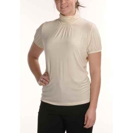 August Silk Stretch Scrunch Mock Turtleneck - Short Sleeve (For Women) in Bavarian Cream - Closeouts