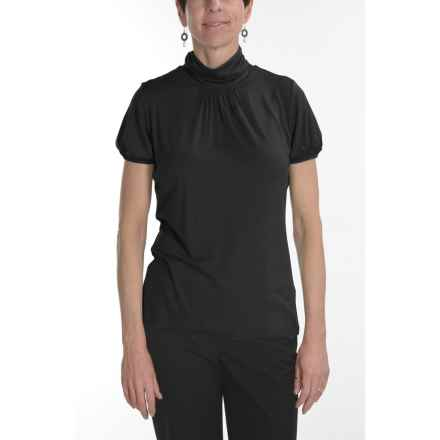 August Silk Stretch Scrunch Mock Turtleneck - Short Sleeve (For Women) in Black - Closeouts