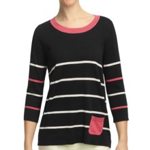 August Silk Stripe Scoop Neck Shirt - Cotton-Modal, 3/4 Sleeve (For Women) in Black/Beige/Coral - Closeouts