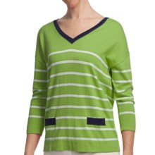 August Silk Stripe V-Neck Shirt - Cotton-Modal, 3/4 Sleeve (For Women) in Green/Navy - Closeouts