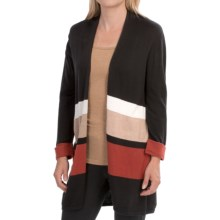 August Silk Striped Cardigan Sweater (For Women) in Black/Neutral - Closeouts