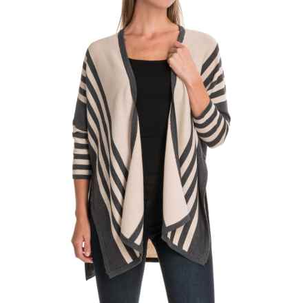 August Silk Striped Cardigan Sweater - Open Front, Elbow Sleeve (For Women) in Beige/Grey Flannel Heather - Closeouts