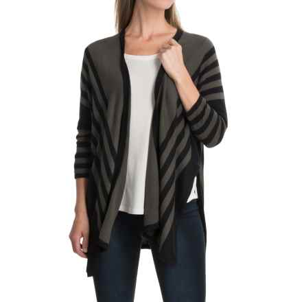August Silk Striped Cardigan Sweater - Open Front, Elbow Sleeve (For Women) in Olive/Black - Closeouts