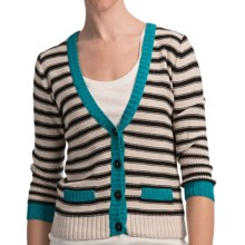August Silk Striped Demi Cardigan Sweater (For Women) in Ash Blonde/Black/Teal - Closeouts