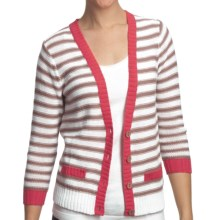 August Silk Striped Demi Cardigan Sweater (For Women) in White/Beige/Coral - Closeouts