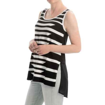 August Silk Striped Sweater - Sleeveless (For Women) in Black/Cotton Ball - Closeouts