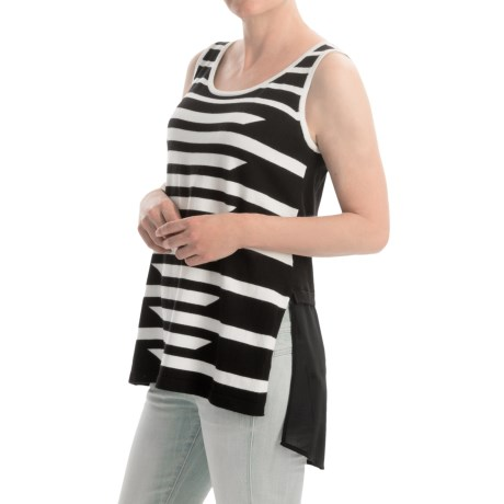 August Silk Striped Sweater Sleeveless (For Women)