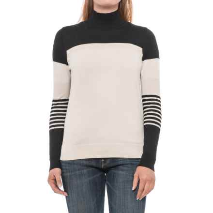 August Silk Striped Turtleneck Sweater - Cotton-Modal (For Women) in Cream/Black/Beige - Closeouts