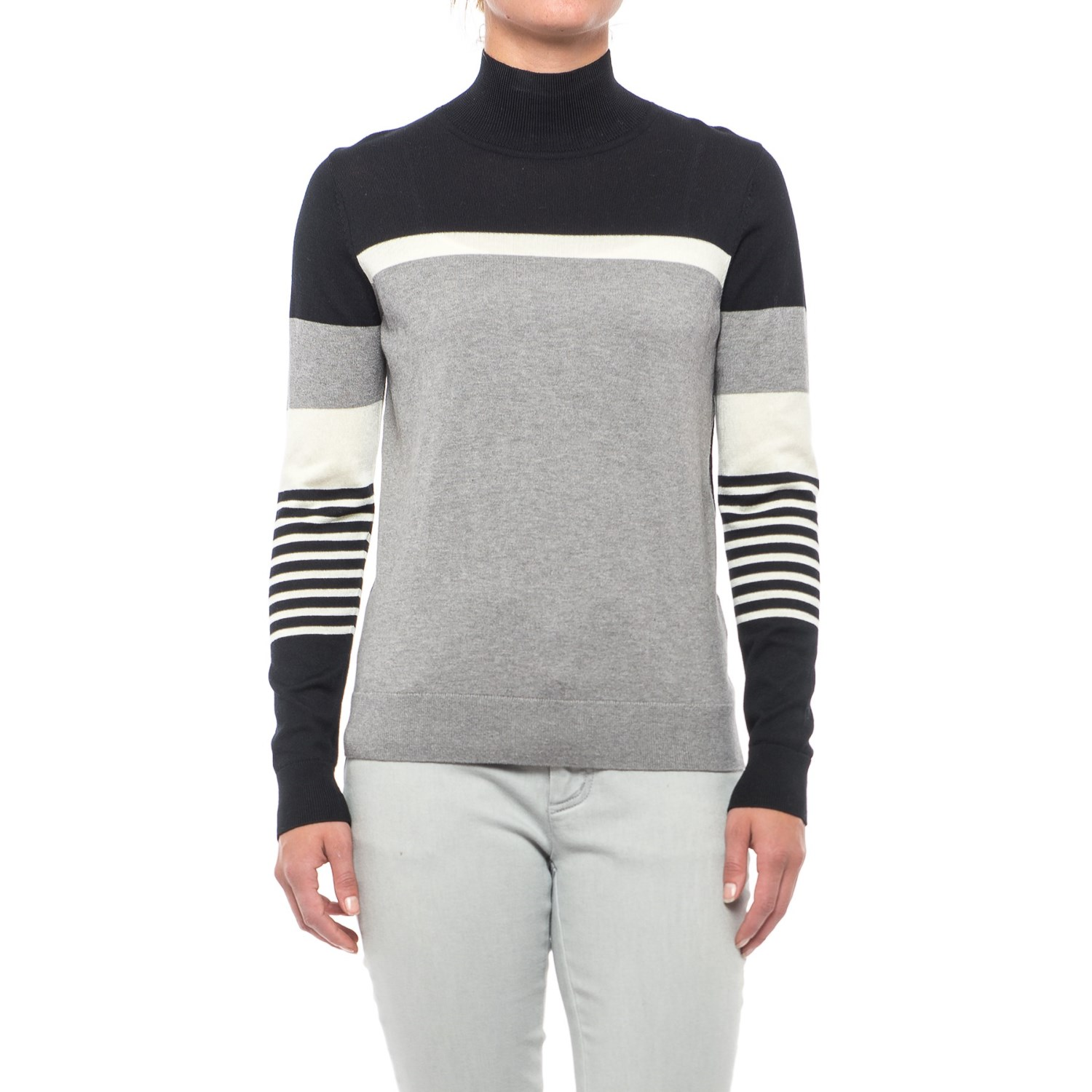 August Silk Striped Turtleneck Sweater (For Women)