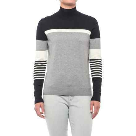 August Silk Striped Turtleneck Sweater - Cotton-Modal (For Women) in Grey/Black/Cream - Closeouts