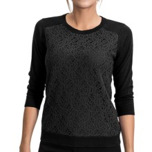 August Silk Sweater with Lace Overlay - 3/4 Sleeve (For Women) in Black - Closeouts