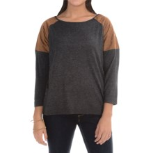 August Silk Sweater with Quilted Suede Shoulders - Cotton-Modal (For Women) in Grey/Brown - Closeouts