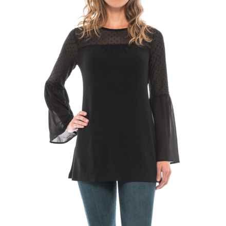 August Silk Swiss Dot Shirt - Long Sleeve (For Women) in Black - Closeouts