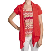 August Silk Tape Yarn Pointelle Cardigan Sweater - Short Sleeve (For Women) in Correlle - Closeouts