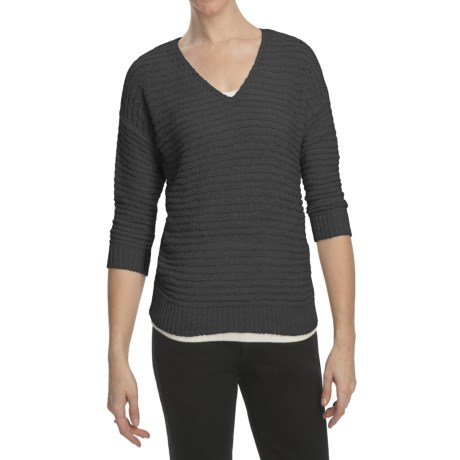 August Silk Tape Yarn Sweater - V-Neck, 3/4 Sleeve (For Women) in Black