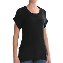 August Silk Tape Yarn Tunic Shirt - Short Sleeve (For Women) in Black - Closeouts