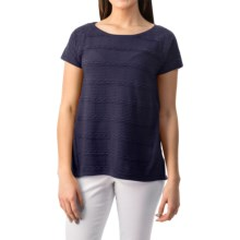 August Silk Textured Lace Shirt - Short Sleeve (For Women) in Perfect Navy - Closeouts