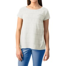 August Silk Textured Lace Shirt - Short Sleeve (For Women) in White - Closeouts