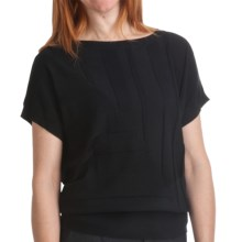 August Silk Textured Stripe Sweater - Cotton-Modal, Short Sleeve (For Women) in Black - Closeouts