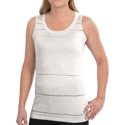 August Silk Tone on Tone Sheer Stripe Tank Top (For Women) in Cottonball - Closeouts
