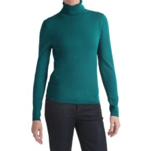 August Silk Turtleneck Sweater (For Women) in Feather Turquoise - Closeouts