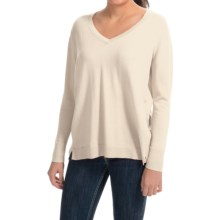 August Silk V-Neck Sweater - Semi-Sheer Back Panel (For Women) in Cream - Closeouts