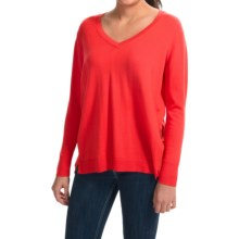 August Silk V-Neck Sweater - Semi-Sheer Back Panel (For Women) in Pop Red - Closeouts