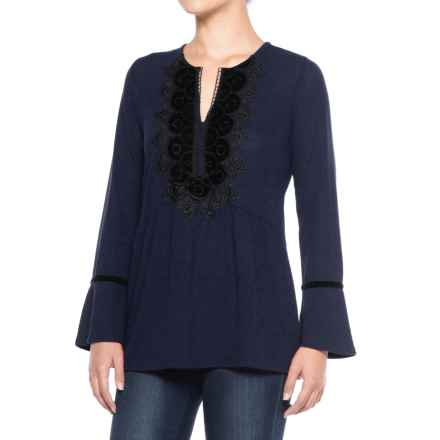 August Silk Velvet Applique Shirt - Long Sleeve (For Women) in Newport Navy - Closeouts