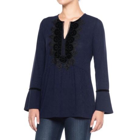 August Silk Velvet Applique Shirt - Long Sleeve (For Women) in Newport Navy