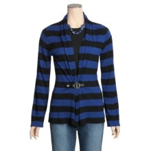 August Silk Warm Hand Flyaway Cardigan Sweater - Striped, Silk-Rich (For Women) in Black/Knightsbridge Blue - Closeouts