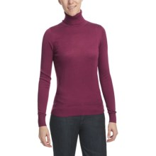 August Silk Warm Hand Turtleneck - Long Sleeve (For Women) in Earthwine - Closeouts