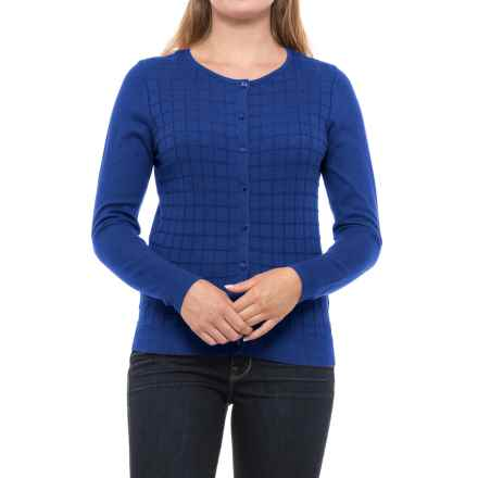 August Silk Windowpane Textured Cardigan Sweater (For Women) in Electric Blue - Closeouts