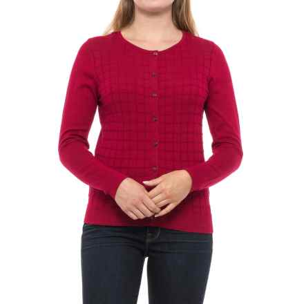 August Silk Windowpane Textured Cardigan Sweater (For Women) in Ruby - Closeouts