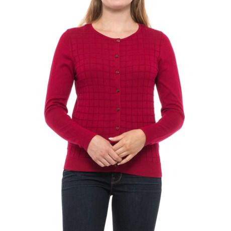 August Silk Windowpane Textured Cardigan Sweater (For Women) in Ruby