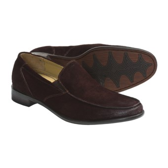 Auri Marcus Venetian Shoes - Leather, Slip-Ons (For Men) in Chocolate Burnished Suede